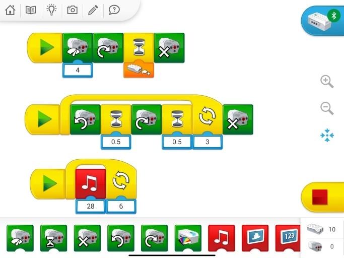 WeDo 2.0アプリのプログラミング画面